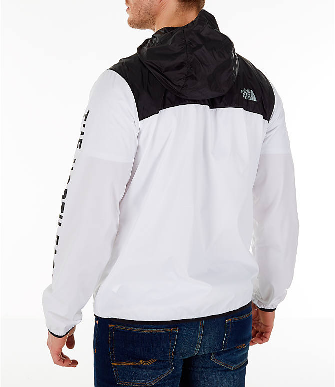 Back Left view of Men's The North Face Novelty Cyclone Hooded Jacket in White/Black