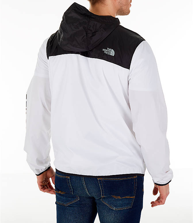 Back Right view of Men's The North Face Novelty Cyclone Hooded Jacket in White/Black