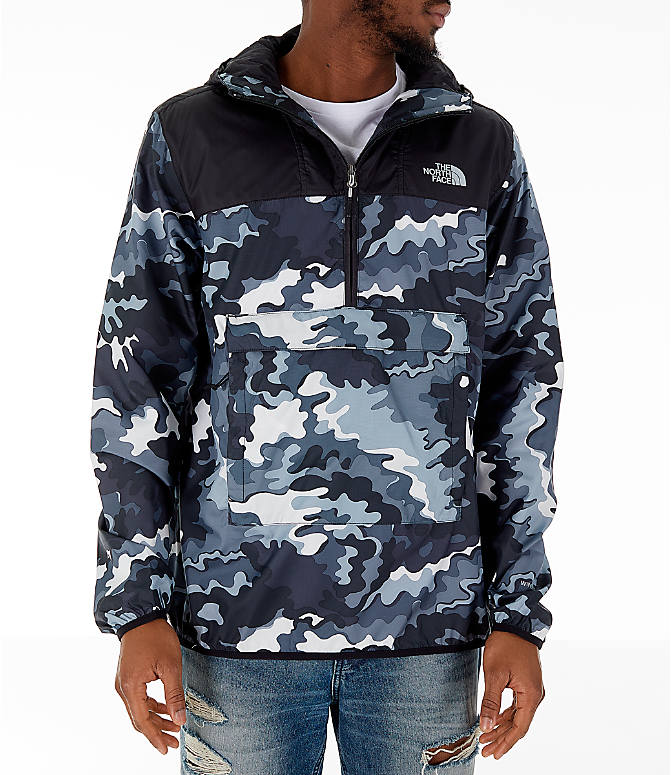 Front view of Men's The North Face Novelty Fanorak Half-Zip Jacket in Black Print