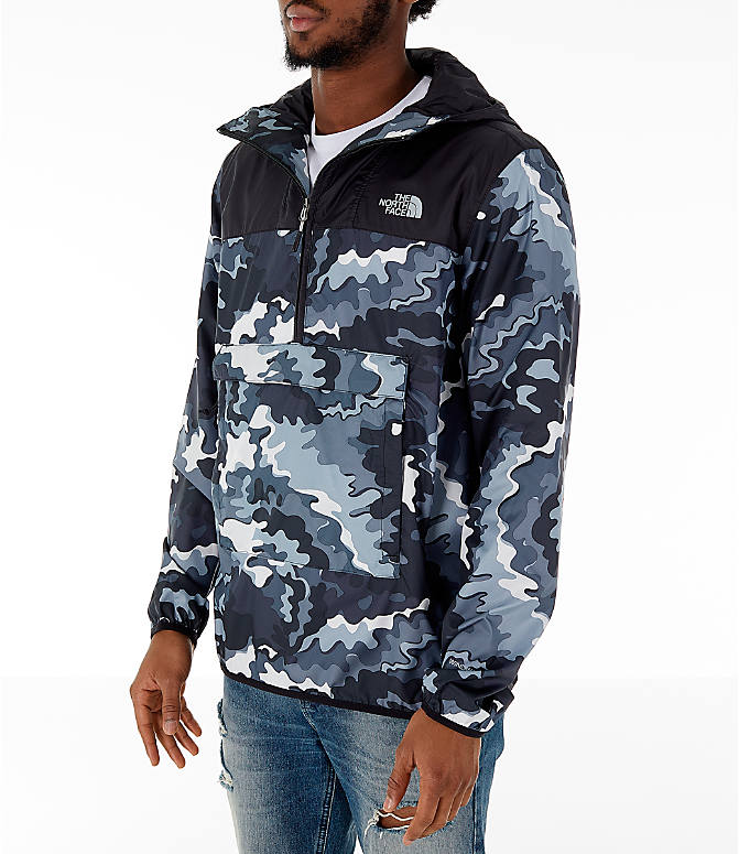 Front Three Quarter view of Men's The North Face Novelty Fanorak Half-Zip Jacket in Black Print