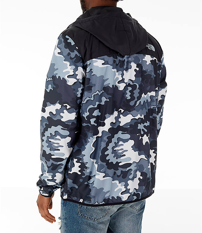 Back Left view of Men's The North Face Novelty Fanorak Half-Zip Jacket in Black Print