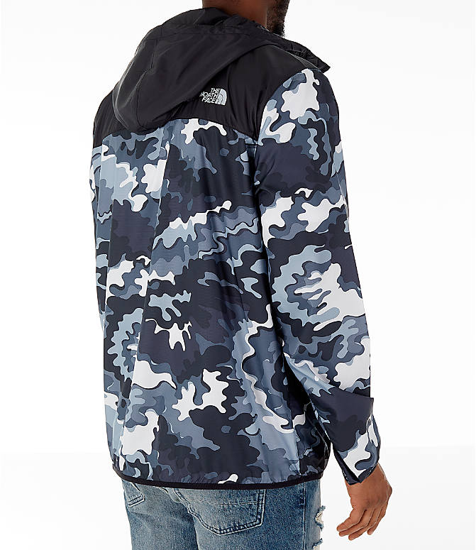 Back Right view of Men's The North Face Novelty Fanorak Half-Zip Jacket in Black Print