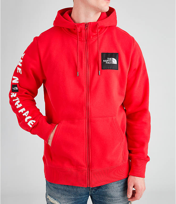 Front view of Men's The North Face Box Full-Zip Hoodie in Red/Black