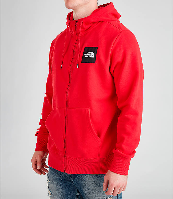 Front Three Quarter view of Men's The North Face Box Full-Zip Hoodie in Red/Black