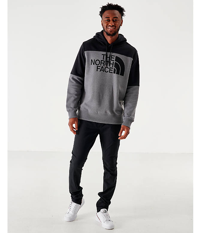 Front Three Quarter view of Men's The North Face Drew Peak Hoodie in Grey/Black