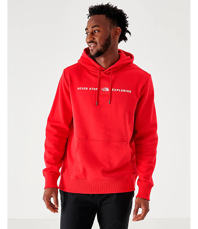 Front view of Men's The North Face Never Stop Hoodie in Red