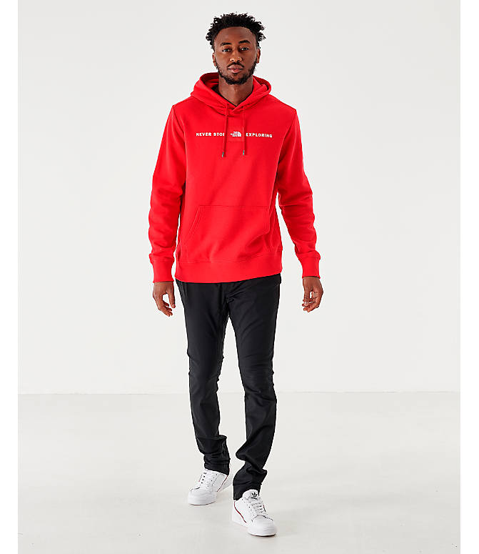 Front Three Quarter view of Men's The North Face Never Stop Hoodie in Red