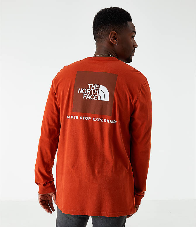 Front view of Men's The North Face Box Long-Sleeve T-Shirt in Red