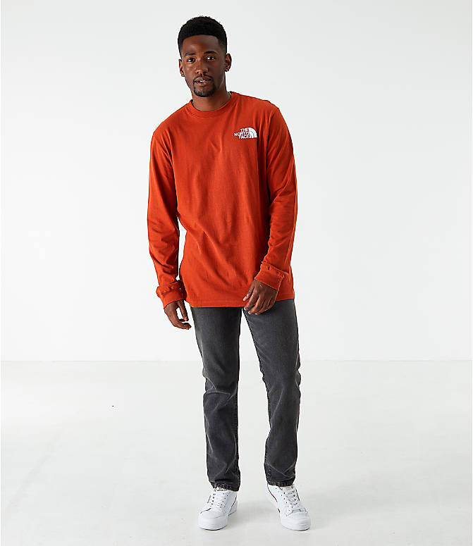 Front Three Quarter view of Men's The North Face Box Long-Sleeve T-Shirt in Red