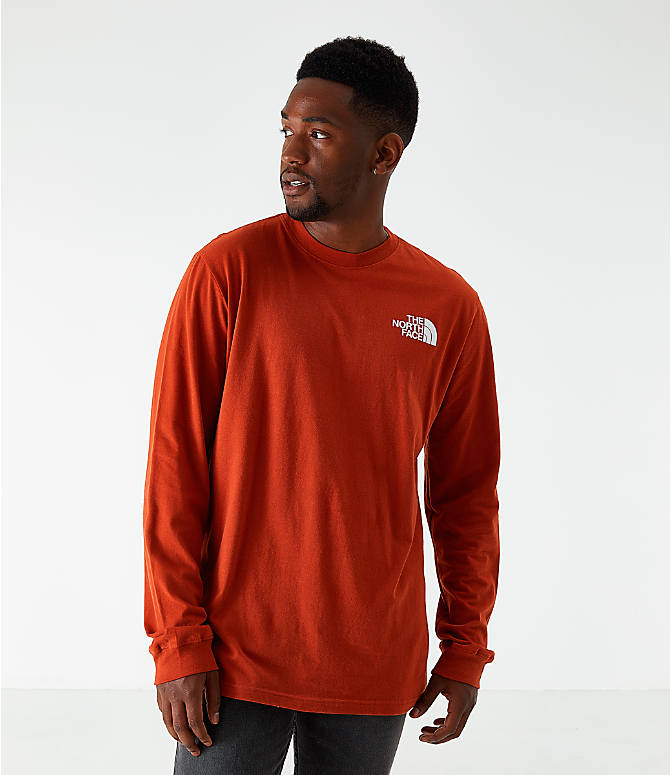 Back Left view of Men's The North Face Box Long-Sleeve T-Shirt in Red