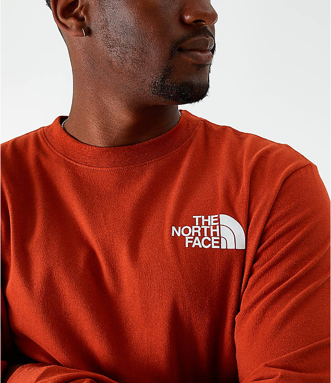 Back Right view of Men's The North Face Box Long-Sleeve T-Shirt in Red