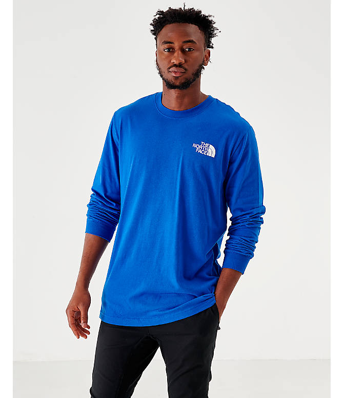 Front view of Men's The North Face Box Long-Sleeve T-Shirt in Royal