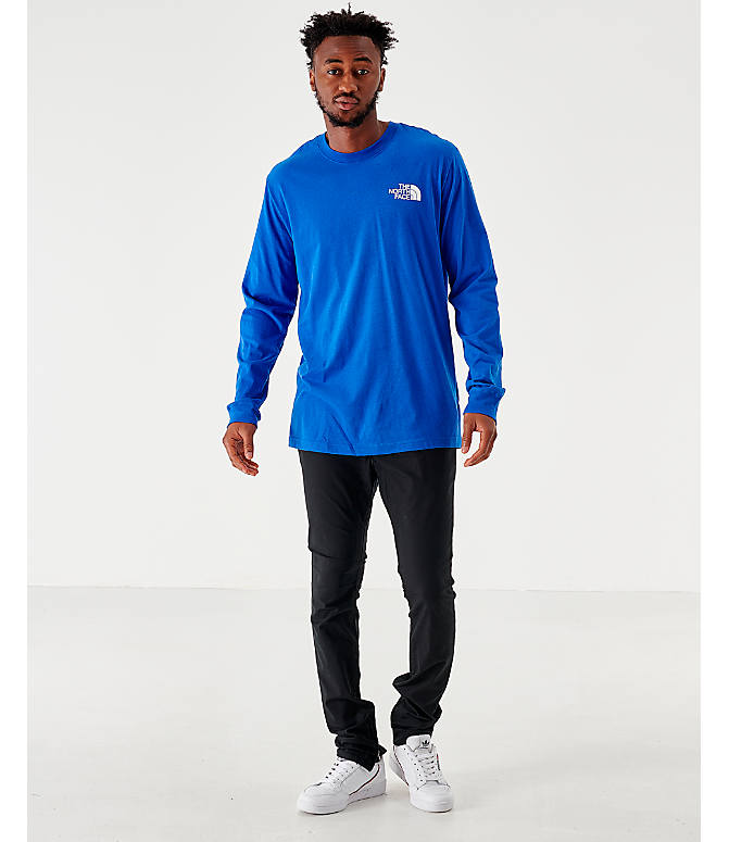 Front Three Quarter view of Men's The North Face Box Long-Sleeve T-Shirt in Royal