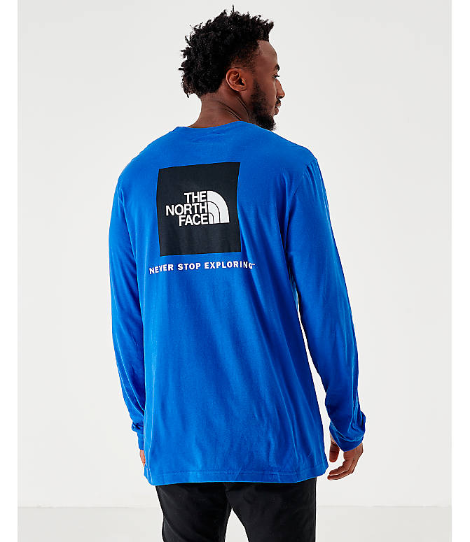 Back Left view of Men's The North Face Box Long-Sleeve T-Shirt in Royal