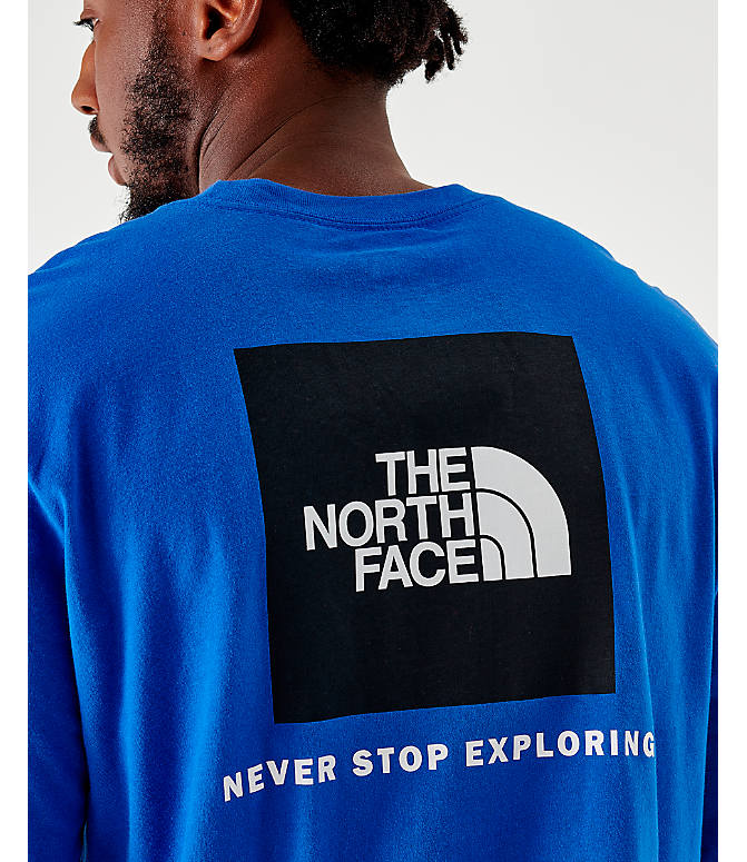 On Model 5 view of Men's The North Face Box Long-Sleeve T-Shirt in Royal