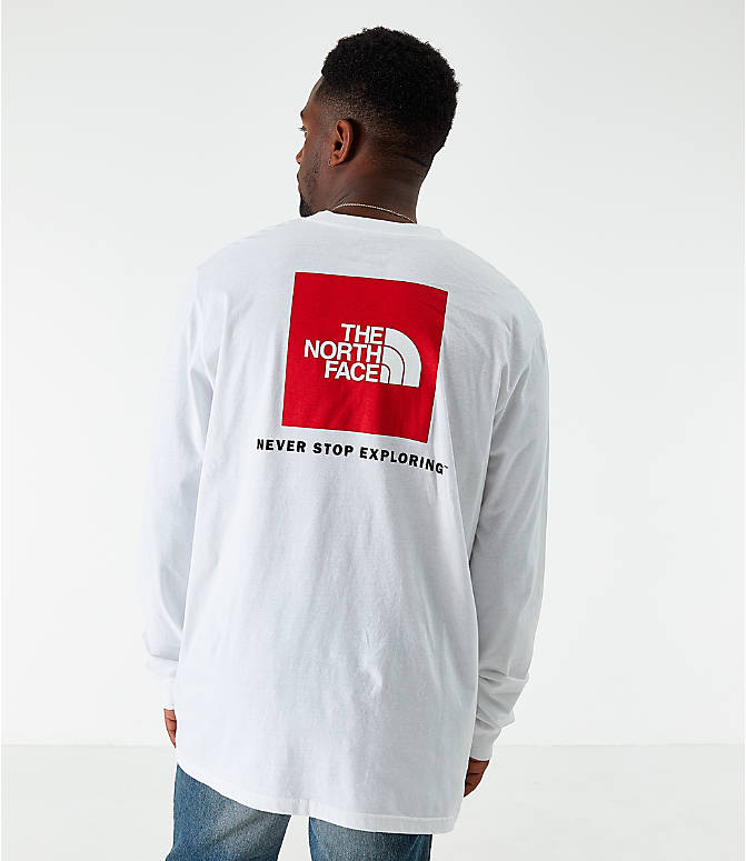 Front view of Men's The North Face Box Long-Sleeve T-Shirt in White