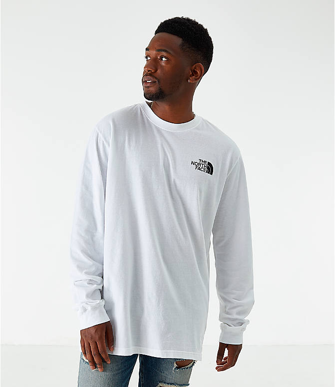 Back Left view of Men's The North Face Box Long-Sleeve T-Shirt in White