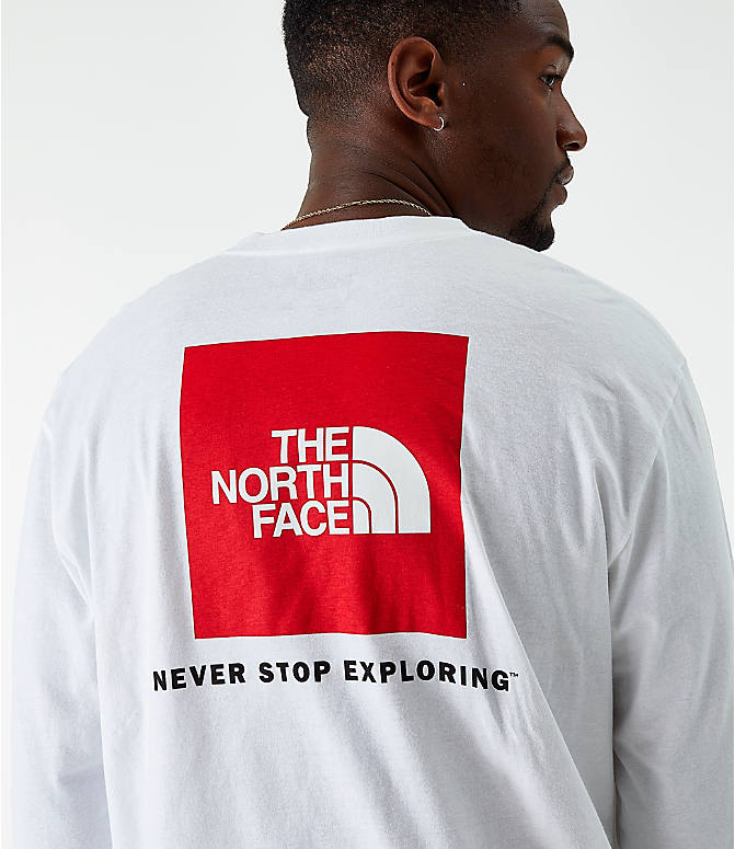 On Model 5 view of Men's The North Face Box Long-Sleeve T-Shirt in White