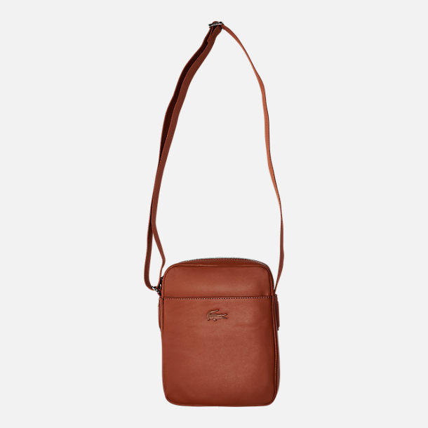 Front view of Lacoste Business Vertical Leather Shoulder Bag in Bison
