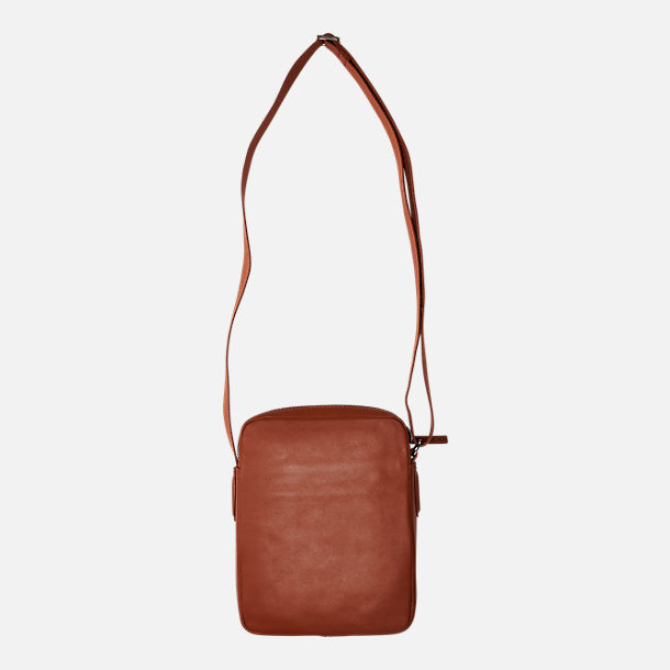 Back view of Lacoste Business Vertical Leather Shoulder Bag in Bison