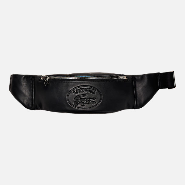 Front view of Lacoste Casual Embossed Leather Zippered Waist Pack in Black