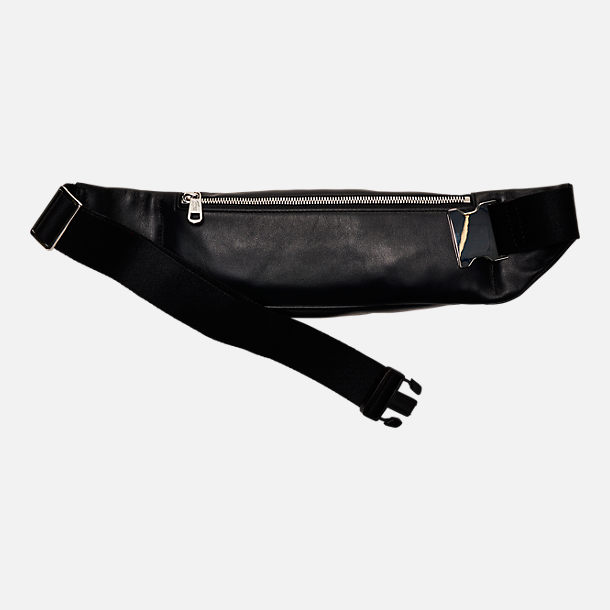Back view of Lacoste Casual Embossed Leather Zippered Waist Pack in Black