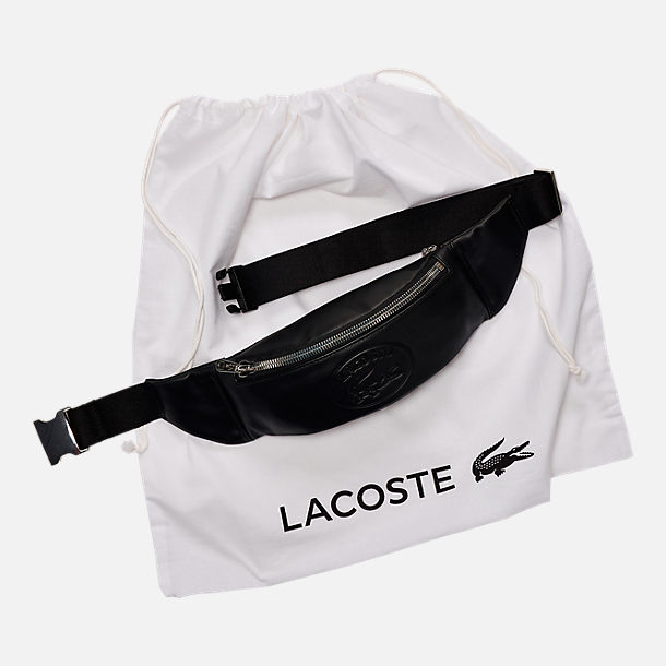Alternate view of Lacoste Casual Embossed Leather Zippered Waist Pack in Black