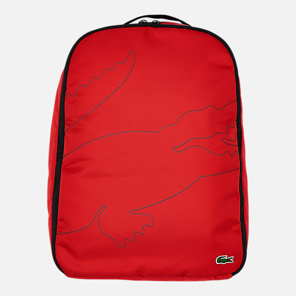 Front view of Lacoste Croc Outline Backpack in Red