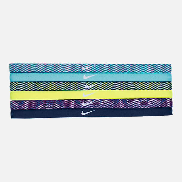Front view of Nike Printed 6-Pack Headbands in Blustery/Aqua/Blue