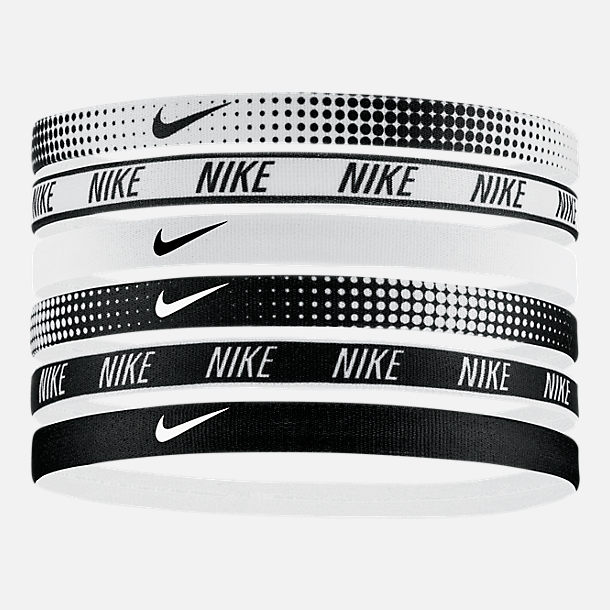 Front view of Nike Printed 6-Pack Headbands in White Black 6b03bba9274