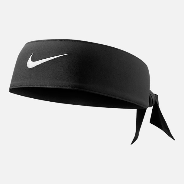 Front view of Nike Dri-FIT Training Head Tie in Black/White