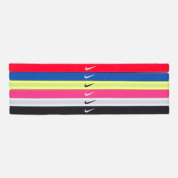 Front view of Girls' Nike 6-Pack Rainbow Headbands in Red/Blue/Volt/Pink/Black/White