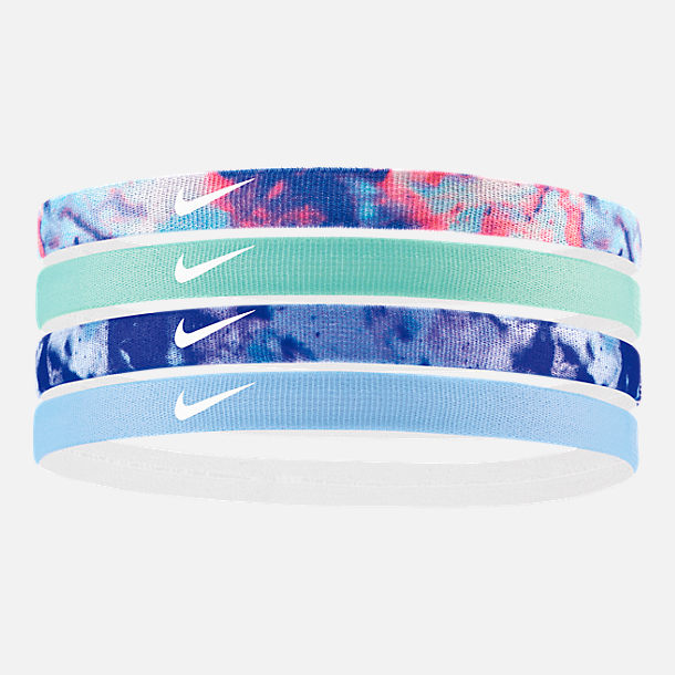 Front view of Girls' Nike 4-Pack Headbands in Royal Pulse/Igloo/Game Royal