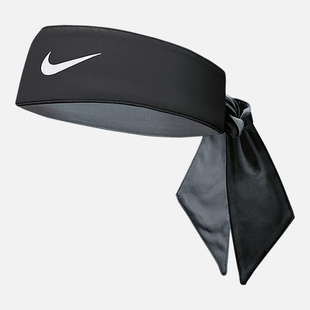 Front view of Nike Dri-FIT Training Head Tie in Black/Cool Grey