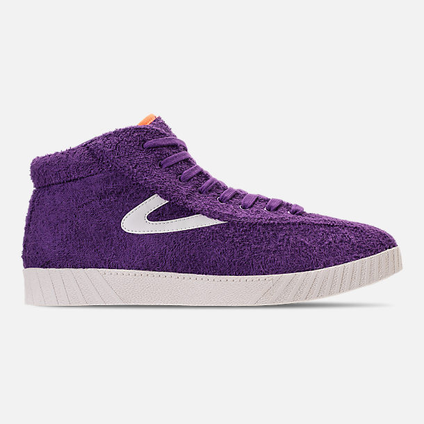 Right view of Men's Tretorn Nylite Hi XAB2 Casual Shoes in Vibrant Purple/Vintage White/Neon Orange