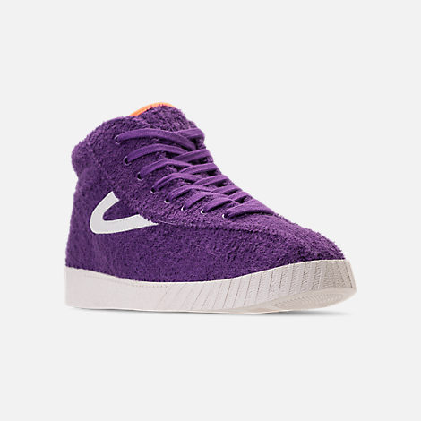 Three Quarter view of Men's Tretorn Nylite Hi XAB2 Casual Shoes in Vibrant Purple/Vintage White/Neon Orange