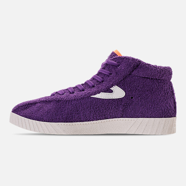 Left view of Men's Tretorn Nylite Hi XAB2 Casual Shoes in Vibrant Purple/Vintage White/Neon Orange