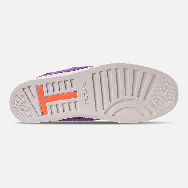 Bottom view of Men's Tretorn Nylite Hi XAB2 Casual Shoes in Vibrant Purple/Vintage White/Neon Orange