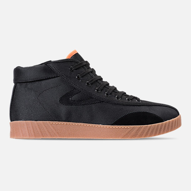 Right view of Men's Tretorn Nylite Hi XAB3 Casual Shoes in Black/Gum/Neon Orange