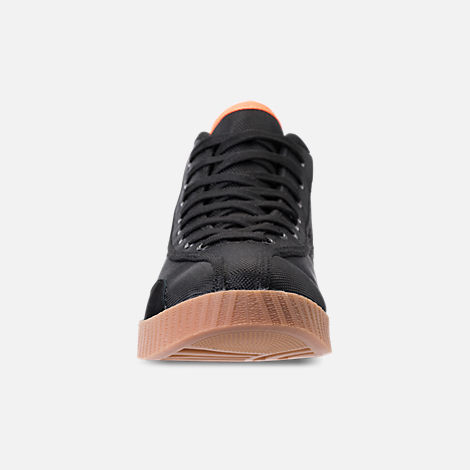 Front view of Men's Tretorn Nylite Hi XAB3 Casual Shoes in Black/Gum/Neon Orange