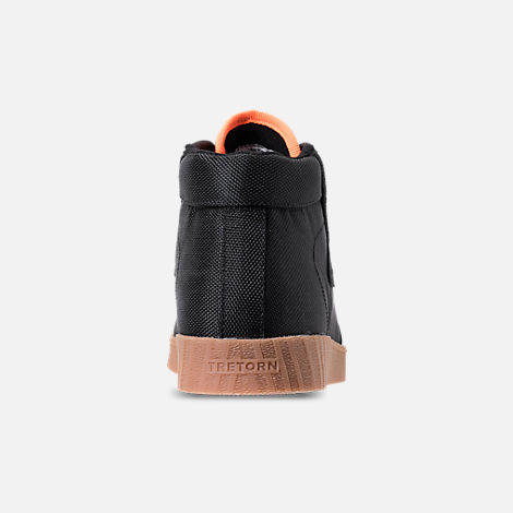 Back view of Men's Tretorn Nylite Hi XAB3 Casual Shoes in Black/Gum/Neon Orange