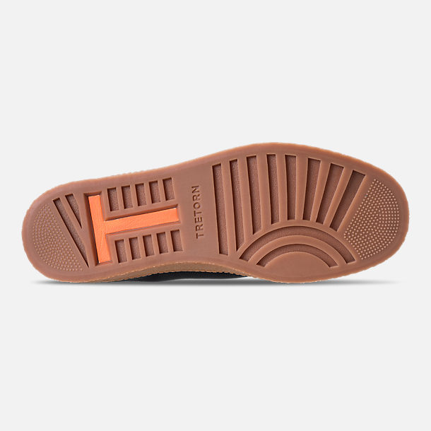 Bottom view of Men's Tretorn Nylite Hi XAB3 Casual Shoes in Black/Gum/Neon Orange