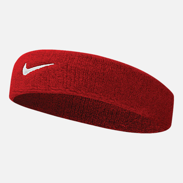 Front view of Nike Swoosh Headband in Red/White
