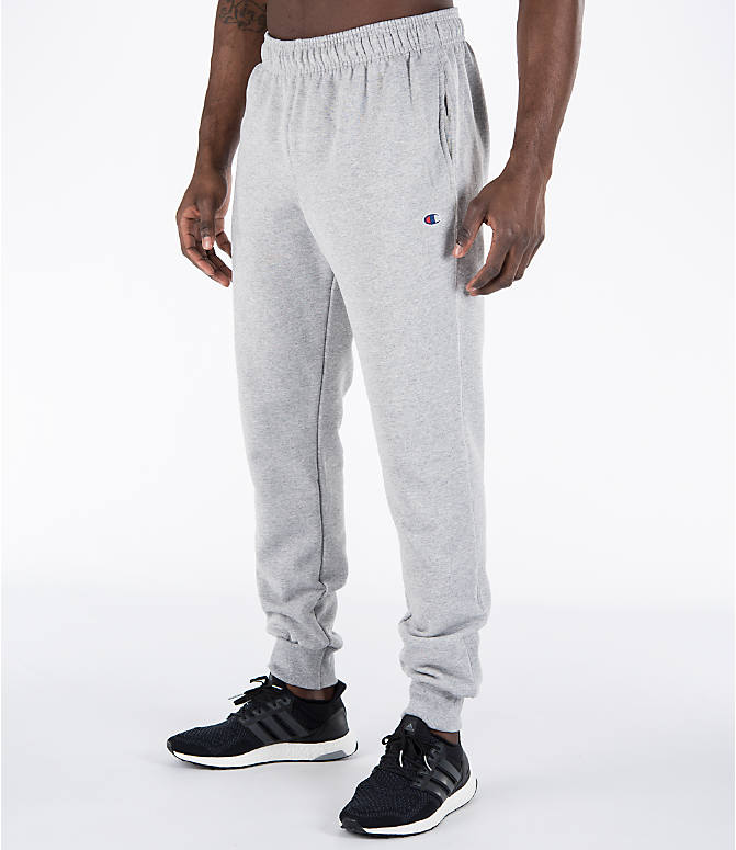 Front Three Quarter view of Men's Champion Powerblend Jogger Pants in Oxford Grey