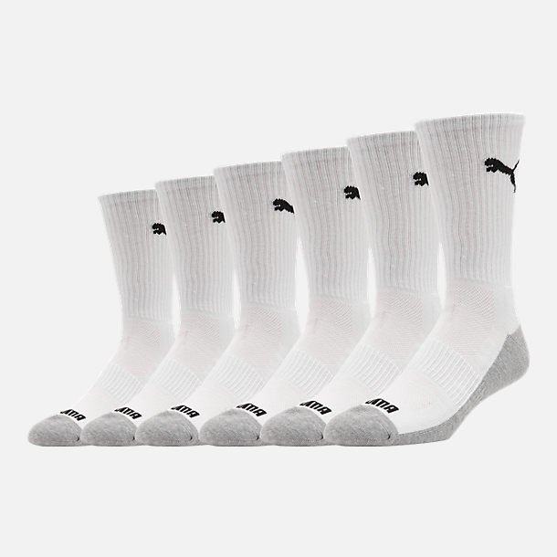 Front view of Men's Puma 1/2 Terry 6-Pack Crew Socks in White/Black