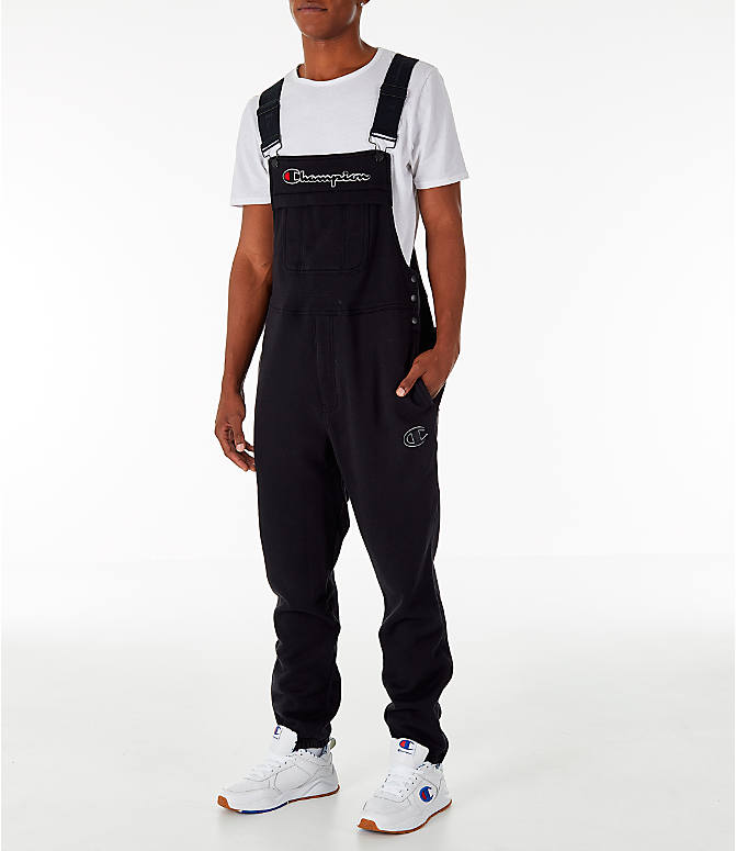 Front view of Men's Champion Super Fleece Overalls in Black