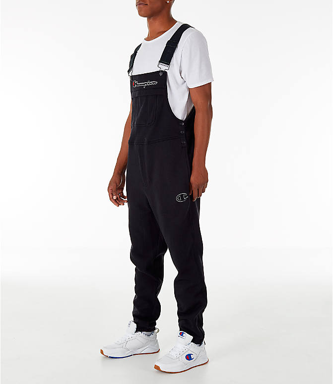 Front Three Quarter view of Men's Champion Super Fleece Overalls in Black