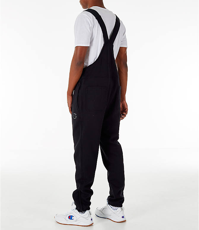 Back Left view of Men's Champion Super Fleece Overalls in Black