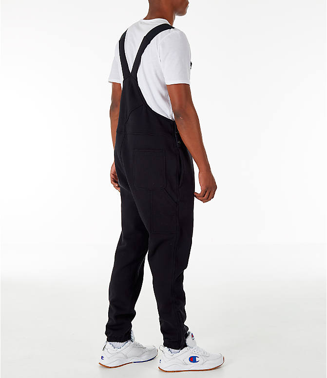 Back Right view of Men's Champion Super Fleece Overalls in Black