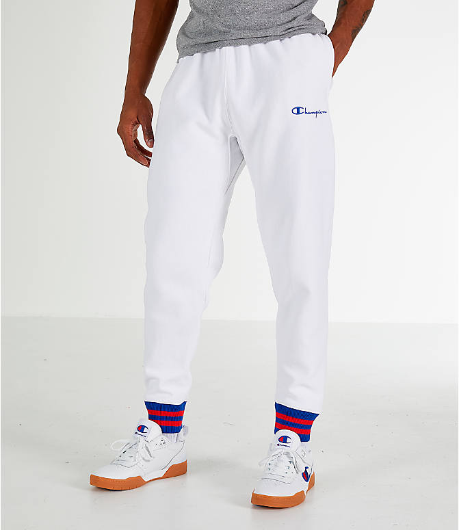 Front view of Men's Champion Yard Dyed Ribbed Jogger Pants in White
